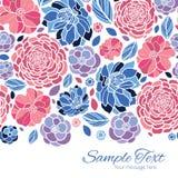 Vector mosaic flowers horizontal border card Royalty Free Stock Photo