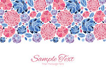 Vector mosaic flowers horizontal border greeting Stock Images