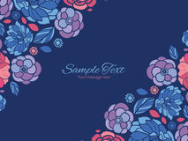 Vector mosaic flowers horizontal double corners Stock Image