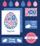 Vector mosaic flowers set of Easter cards, labels Stock Photography