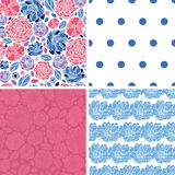 Vector Mosaic Flowers Set of Four Matching Repeat Stock Photo