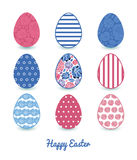 Vector mosaic flowers set of nine colorful Easter Stock Images