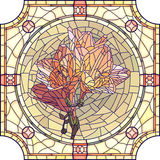 Vector mosaic illustration of flower orange iris. Stock Image