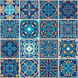 Vector mosaic patchwork ornament with square tiles. Seamless texture. Portuguese azulejos decorative pattern. Ornamental square design in oriental style stock illustration