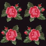 Vector mosaic pattern with a rose Royalty Free Stock Photos