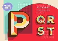 Vector Mosaic Typeset. Textured Geometric Type. Trendy Retro Typography for DJ Music Poster, Club Flyer, Fest Invitation, Game Design. Old Vintage Alphabet stock illustration