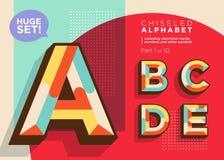 Vector Mosaic Typeset. Textured Geometric Type. Trendy Retro Typography for DJ Music Poster, Club Flyer, Fest Invitation, Game Design. Old Vintage Alphabet royalty free illustration