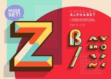 Vector Mosaic Typeset. Textured Geometric Type. Trendy Retro Typography for DJ Music Poster, Club Flyer, Fest Invitation, Game Design. Old Vintage Alphabet vector illustration