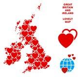 Vector mosaico romántico del mapa de Gran Bretaña y de Irlanda de corazones libre illustration