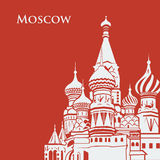 Vector Moscow Saint Basil's Cathedral. Postcard red background. Flat graphics eps10 Stock Photo