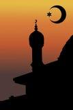 Vector moskee en minaret Stock Foto
