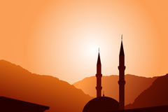 Vector mosque silhouette at sunset Stock Photo
