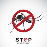 Vector of mosquito in red stop sign on white background. Insect. Epidemic virus prevention concept. Easy editable layered vector illustration Stock Image