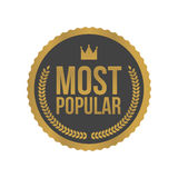 Vector Most Popular Gold Sign, Round Label Royalty Free Stock Photos