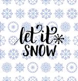 Vector Let It Snow lettering design on snowflakes background. Christmas or New Year seamless pattern. Vector The Most Wonderful Time of the Year lettering Stock Photography