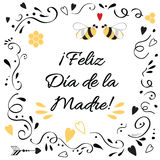 Vector Mother Day greeting card with cute abstract floral ornament. Hand drawn lettering title in Spanish Royalty Free Stock Photo