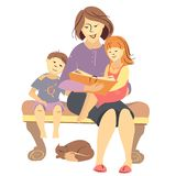 Vector mother reading a book to children Stock Photography
