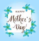 Vector Mother`s Day Card With Tropical Flowers Royalty Free Stock Photo