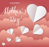 Vector Mother`s Day Flying Hearts Card Stock Photo