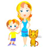 Vector Mother and son and cat. Beautiful blond woman in a blue dress, holding her son's arm, a little boy in a yellow shirt and blue shorts, sitting next to red Royalty Free Stock Images