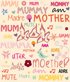 Vector Mothers Day poster with words for mother in vector illustration