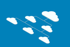 Vector motion isometric cloud servise background Royalty Free Stock Images