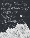 Vector motivation quote, poster hand drawn black and white, blackboard Stock Photo
