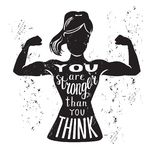 Vector motivational fitness illustration with hand lettering. Vector lettering illustration You are stronger than you think. Black female silhouette doing bicep Royalty Free Stock Images