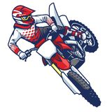 Motocross rider doing jumping whip trick Royalty Free Stock Photo