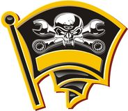 Vector motor Jolly Roger badge Stock Photos