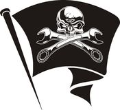 Vector motor Jolly Roger flag Stock Photography
