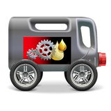 Vector Motor Oil on Wheels Royalty Free Stock Photo
