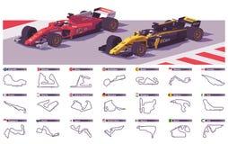 Vector motor racing tracks Royalty Free Stock Photo