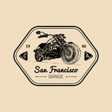 Vector motorcycle advertising poster. Sketched illustration for MC badge.Bike logo for custom company,chopper store etc. Vector motorcycle advertising poster Royalty Free Stock Photos