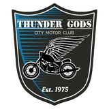 Vector motorcycle club label - Thunder Gods Stock Image