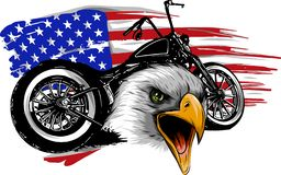 Vector illustraton a motorcycle with the head eagle and american flag