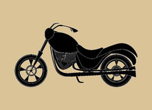 Vector motorcycle icon, transport background, handdrawn on the old grey paper effect Royalty Free Stock Photo