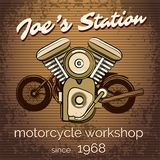 Vector motorcycle repair shop poster Royalty Free Stock Images