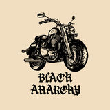 Vector motorcycle sketch with gothic handwritten lettering Black Anarchy. Vintage poster with custom chopper. Stock Photos