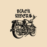 Vector motorcycle sketch with gothic handwritten lettering Black Riders. Vintage poster with custom chopper. Stock Image
