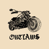 Vector motorcycle sketch with gothic handwritten lettering Outlaws. Vintage poster with custom chopper. Stock Photography