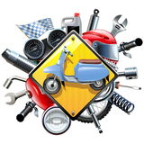 Vector Motorcycle Spares with Scooter Stock Photography