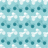 Vector Motorcycles Blue Brown Stripes Seamless. Pattern. Riding on One Wheel Motorbike graphic design Royalty Free Stock Photography
