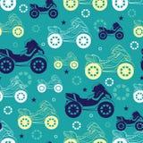 Vector Motorcycles Blue Green Yellow Seamless Stock Photos