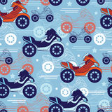 Vector Motorcycles Blue Red Seamless Pattern. Fast Royalty Free Stock Photography