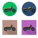 Vector motorcycles icon set in flat style. Vector illustrations with long shadow. Stock Photography