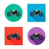 Vector motorcycles set in flat style. Vector illustrations with long shadow. Royalty Free Stock Photo