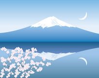 Vector Mount Fuji, moon and sakura Royalty Free Stock Photo
