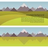 Vector Mountain Background and seamless border Royalty Free Stock Photos