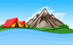 Vector mountain camping illustration Stock Photography